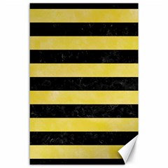 Stripes2 Black Marble & Yellow Watercolor Canvas 24  X 36