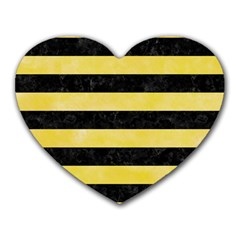 Stripes2 Black Marble & Yellow Watercolor Heart Mousepads
