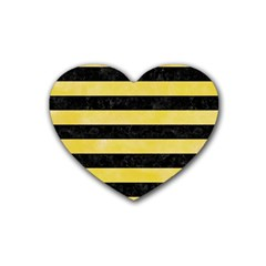 Stripes2 Black Marble & Yellow Watercolor Heart Coaster (4 Pack)