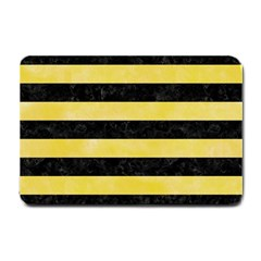 Stripes2 Black Marble & Yellow Watercolor Small Doormat