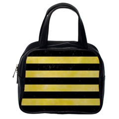 Stripes2 Black Marble & Yellow Watercolor Classic Handbags (one Side)