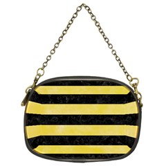 Stripes2 Black Marble & Yellow Watercolor Chain Purses (two Sides)