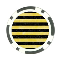 Stripes2 Black Marble & Yellow Watercolor Poker Chip Card Guard (10 Pack)