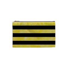 Stripes2 Black Marble & Yellow Watercolor Cosmetic Bag (small)