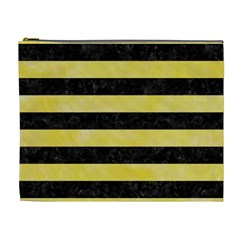 Stripes2 Black Marble & Yellow Watercolor Cosmetic Bag (xl)