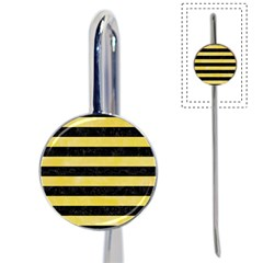 Stripes2 Black Marble & Yellow Watercolor Book Mark