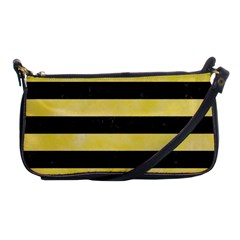 Stripes2 Black Marble & Yellow Watercolor Shoulder Clutch Bags