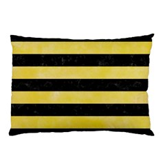 Stripes2 Black Marble & Yellow Watercolor Pillow Case (two Sides)