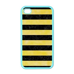 Stripes2 Black Marble & Yellow Watercolor Apple Iphone 4 Case (color)