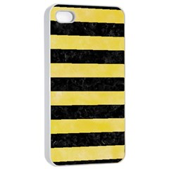 Stripes2 Black Marble & Yellow Watercolor Apple Iphone 4/4s Seamless Case (white)