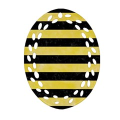 Stripes2 Black Marble & Yellow Watercolor Oval Filigree Ornament (two Sides)