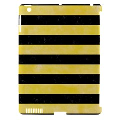 Stripes2 Black Marble & Yellow Watercolor Apple Ipad 3/4 Hardshell Case (compatible With Smart Cover)