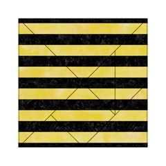 Stripes2 Black Marble & Yellow Watercolor Acrylic Tangram Puzzle (6  X 6 )