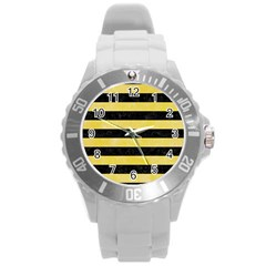 Stripes2 Black Marble & Yellow Watercolor Round Plastic Sport Watch (l)