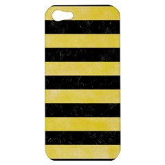 Stripes2 Black Marble & Yellow Watercolor Apple Iphone 5 Hardshell Case