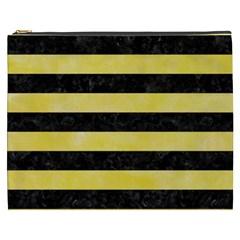 Stripes2 Black Marble & Yellow Watercolor Cosmetic Bag (xxxl)