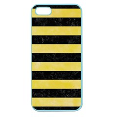 Stripes2 Black Marble & Yellow Watercolor Apple Seamless Iphone 5 Case (color)