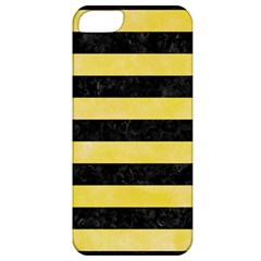 Stripes2 Black Marble & Yellow Watercolor Apple Iphone 5 Classic Hardshell Case