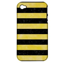 Stripes2 Black Marble & Yellow Watercolor Apple Iphone 4/4s Hardshell Case (pc+silicone)