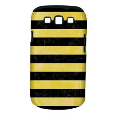 Stripes2 Black Marble & Yellow Watercolor Samsung Galaxy S Iii Classic Hardshell Case (pc+silicone)