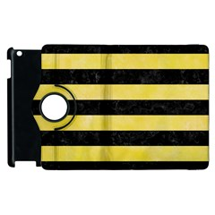 Stripes2 Black Marble & Yellow Watercolor Apple Ipad 3/4 Flip 360 Case