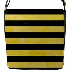 Stripes2 Black Marble & Yellow Watercolor Flap Messenger Bag (s)