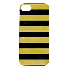 Stripes2 Black Marble & Yellow Watercolor Apple Iphone 5s/ Se Hardshell Case