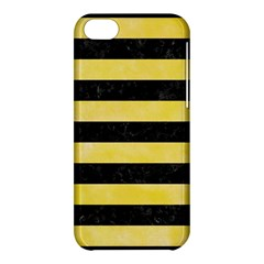 Stripes2 Black Marble & Yellow Watercolor Apple Iphone 5c Hardshell Case