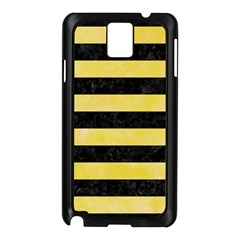 Stripes2 Black Marble & Yellow Watercolor Samsung Galaxy Note 3 N9005 Case (black)