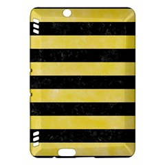 Stripes2 Black Marble & Yellow Watercolor Kindle Fire Hdx Hardshell Case