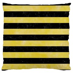 Stripes2 Black Marble & Yellow Watercolor Standard Flano Cushion Case (one Side)