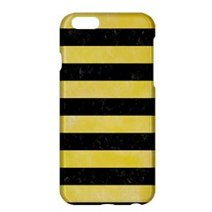 Stripes2 Black Marble & Yellow Watercolor Apple Iphone 6 Plus/6s Plus Hardshell Case