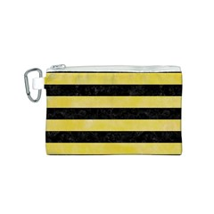 Stripes2 Black Marble & Yellow Watercolor Canvas Cosmetic Bag (s)