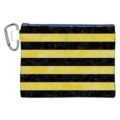Stripes2 Black Marble & Yellow Watercolor Canvas Cosmetic Bag (xxl)