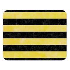 Stripes2 Black Marble & Yellow Watercolor Double Sided Flano Blanket (large)