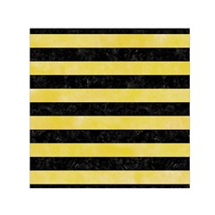 Stripes2 Black Marble & Yellow Watercolor Small Satin Scarf (square)