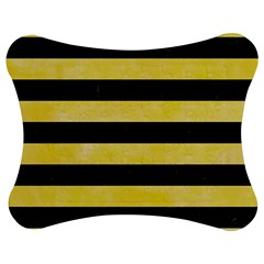 Stripes2 Black Marble & Yellow Watercolor Jigsaw Puzzle Photo Stand (bow)