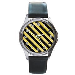 Stripes3 Black Marble & Yellow Watercolor Round Metal Watch