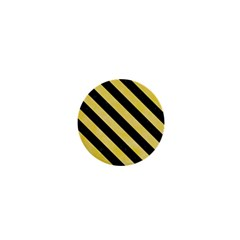 Stripes3 Black Marble & Yellow Watercolor 1  Mini Magnets