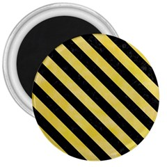 Stripes3 Black Marble & Yellow Watercolor 3  Magnets