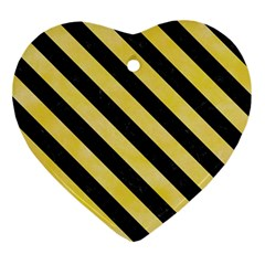 Stripes3 Black Marble & Yellow Watercolor Ornament (heart)