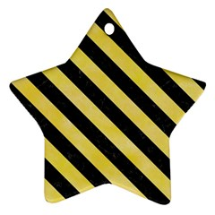 Stripes3 Black Marble & Yellow Watercolor Ornament (star)