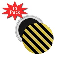 Stripes3 Black Marble & Yellow Watercolor 1 75  Magnets (10 Pack)