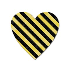 Stripes3 Black Marble & Yellow Watercolor Heart Magnet