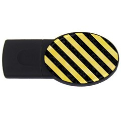 Stripes3 Black Marble & Yellow Watercolor Usb Flash Drive Oval (2 Gb)