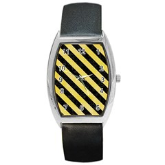 Stripes3 Black Marble & Yellow Watercolor Barrel Style Metal Watch