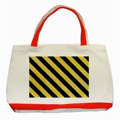 Stripes3 Black Marble & Yellow Watercolor Classic Tote Bag (red)