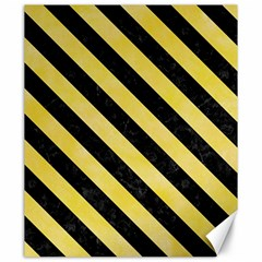 Stripes3 Black Marble & Yellow Watercolor Canvas 20  X 24