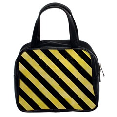Stripes3 Black Marble & Yellow Watercolor Classic Handbags (2 Sides)
