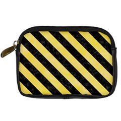 Stripes3 Black Marble & Yellow Watercolor Digital Camera Cases